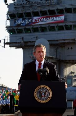 George W. Bush - Mission Accomplished banner on the USS Lincoln